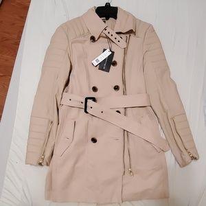 WALTER BAKER Beige Faux Leather Trench Coat
